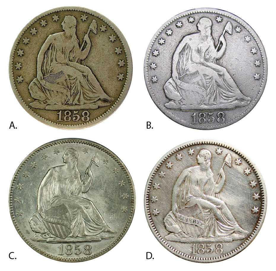 1858 halves four figures