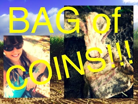 Metal detecting: Found a bag of coins in a field!!  Silver cache!!
