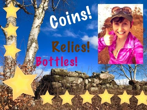 Metal detecting the old foundation:  Coins, silver, & awesome relic!
