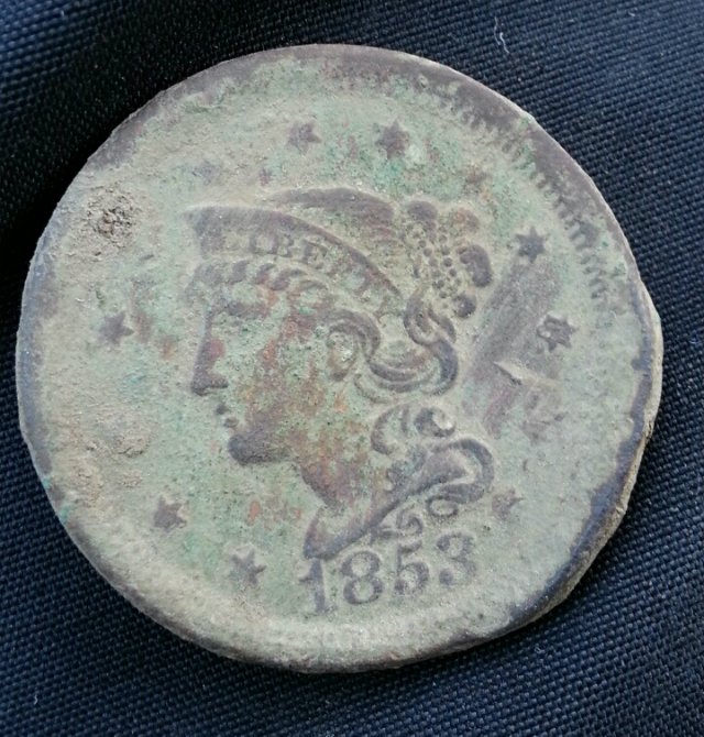 1853 Braided Hair Large Cent Found Metal Detecting!