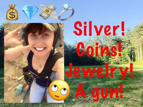 Entry level metal detector finds silver, gold jewelry, coins, & a gun!