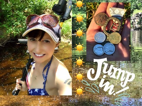 Metal detecting the old swimming hole!  Silver, jewelry, old coins!