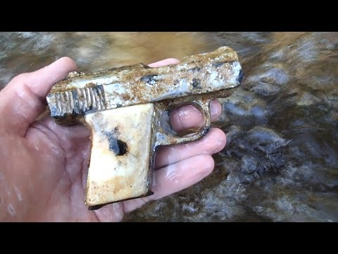 River Hunting! – Found Pistol, Money and Creepy Skull Head Belt Buckle!