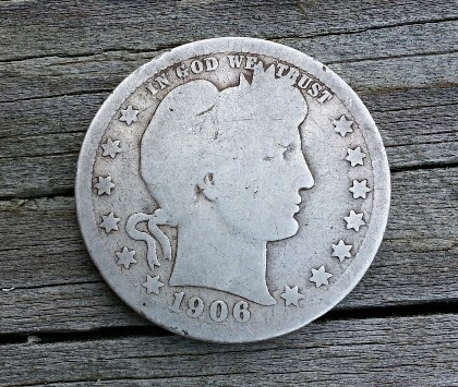 1906 Barber Quarter found Metal Detecting
