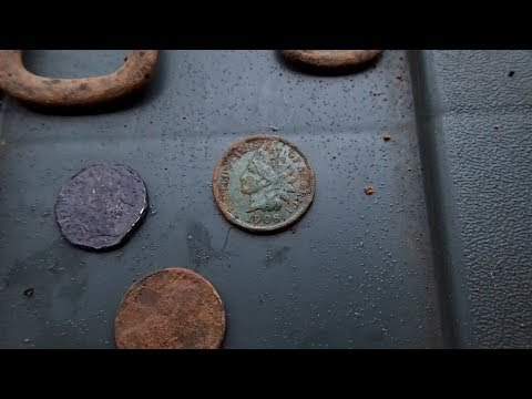 Detecting Old House Sites – Found Silver Dime and Indian Head Penny