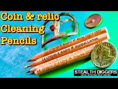 Coin Relic cleaning review with Andre's pencil set Le Crayon a Andre metal detecting
