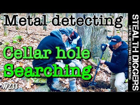 Cellar hole searching  metal detecting colonial cellar holes NH