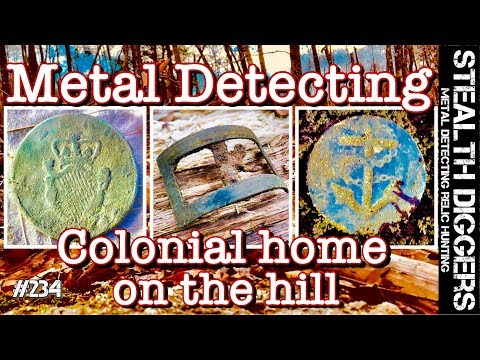 Metal detecting Colonial home on the hill NH cellar hole 1700's coins