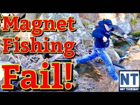 Magnet fishing fail  – Magnet fishing old mill site river slip fall in water
