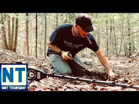 Metal detecting a 1700s cellar hole in NH loaded with old relics Garrett ATGOLD –  Not Thursday # 40