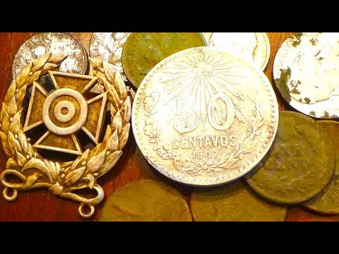 HUGE FOREIGN SILVER and WW2 Badge Found At An Old Home Site! Metal Detecting Old Coins +More!