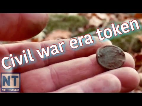 Civil war era token metal detecting coin – Thursday #86 Oh so cold Metal detecting the woods of NH