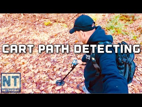 Old cart path metal detecting in New Hampshire Not Thursday #95 Garrett ATGOLD detector find coins