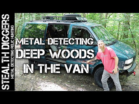 Going metal detecting in the woods in the Astrovan off-road New Hampshire