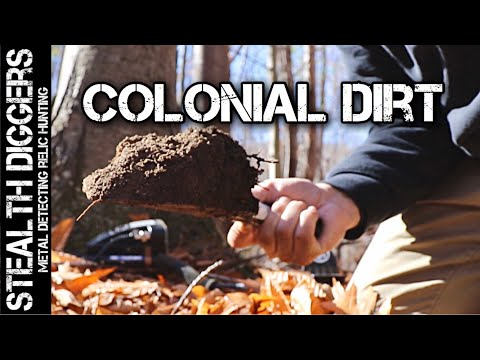Finding a colonial cellar hole metal detecting digging relics coins